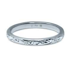 Platinum 2.5 Wide Vine Pattern Engraved Band - Fairtrade Jewellery Co. - 1
