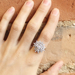 Diamond Snowflake Cocktail Ring