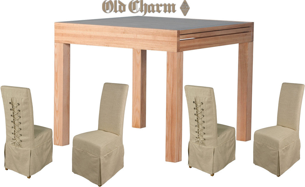 Old Charm Square Flip Top Dining Table & 4 Chairs (RRP £1,655) | Free UK Delivery