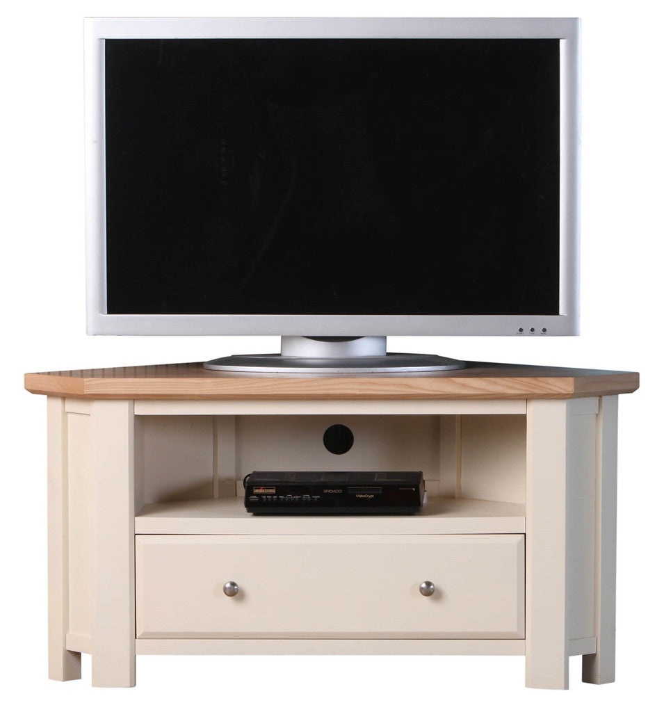 Old Charm High Quality Ivory 2 Tone Corner TV Stand & Free Delivery