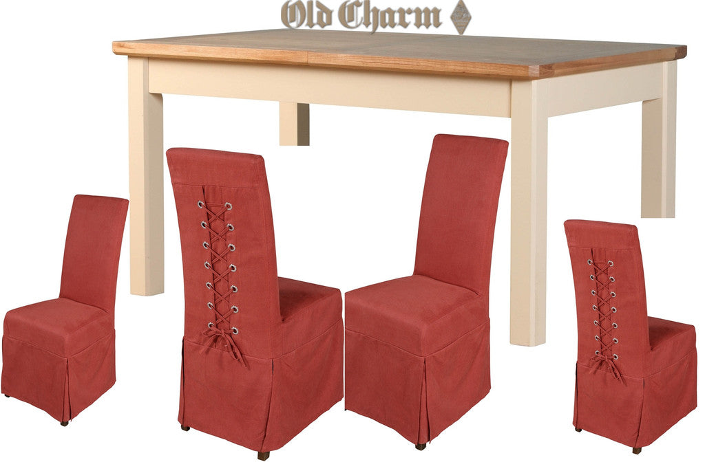 Old Charm Westbury Small Two Tone Ext' Dining Table & 4 Loose Cover Chairs (RRP £1,655) | Free UK Delivery