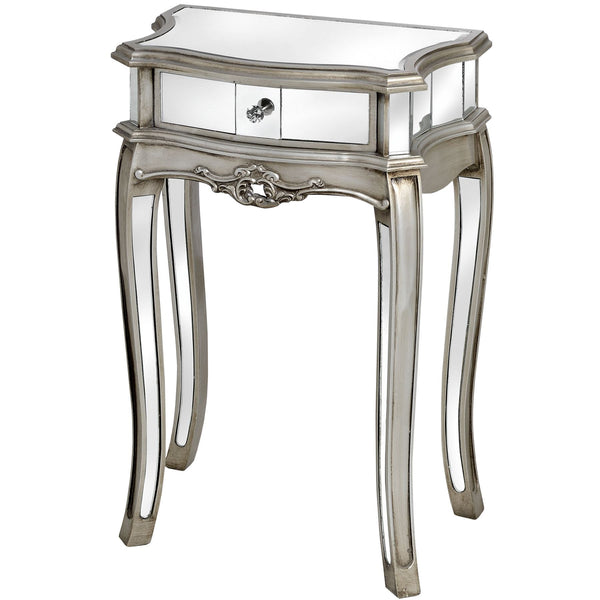 Epernay Mirrored Shabby Chic 1 Drawer Lamp Table | Free Delivery