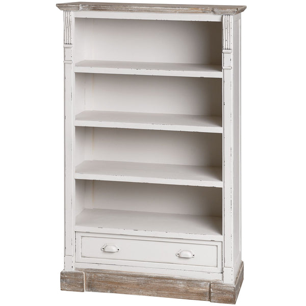 Vermont Rustic Shabby Chic Low Bookcase with Drawer | Free Delivery