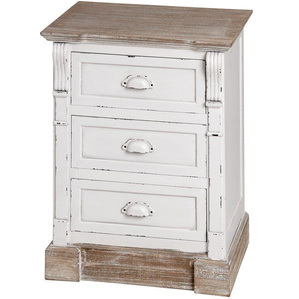Vermont Rustic Shabby Chic Three Drawer Bedside Table | Free Delivery