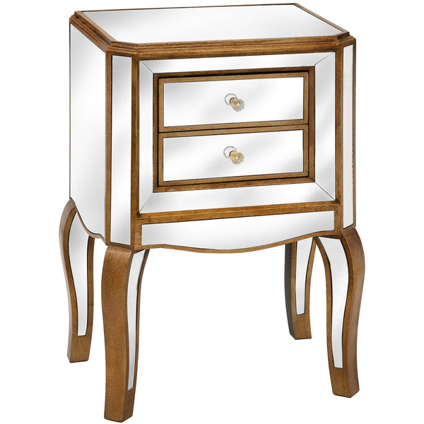Vienne Venetian Mirrored Glass 2 Drawer Bedside / Lamp Stand | Free Delivery