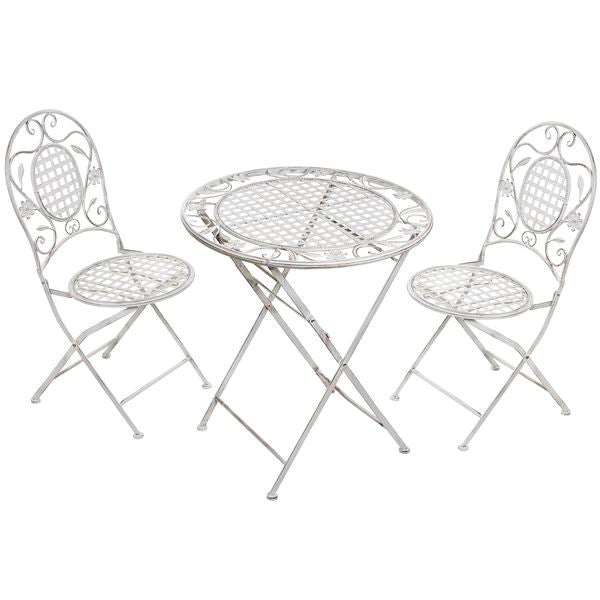 Super Pretty Shabby Chic Folding White Ornate Metal Patio Set | FREE DELIVERY