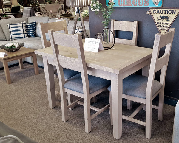 Melrose Grey Wash Reclaimed Wood 1.2m Extending Dining Table Set