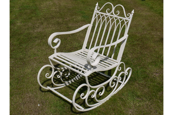 Angelica Ornate White Metal Rocking Chairs For Garden Or Indoor Use