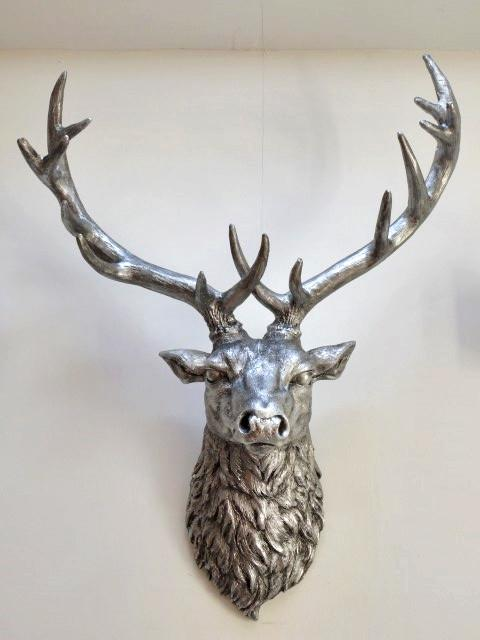 Medium-Stags-Head-Wall-Hanging-Antique-Silver-Finish