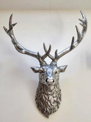 Stan The Stag - Medium Wall Mounted Antique Silver Stags Head £59.99