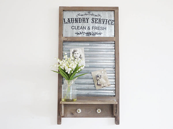 Vintage Style Washboard Magnetic Notice Board With Shelf