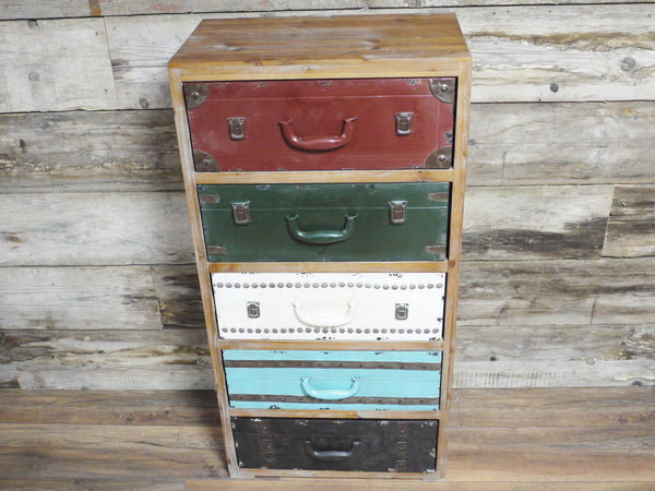Quirky Vintage Industrial Chic Metal Suitcase Tallboy Drawers