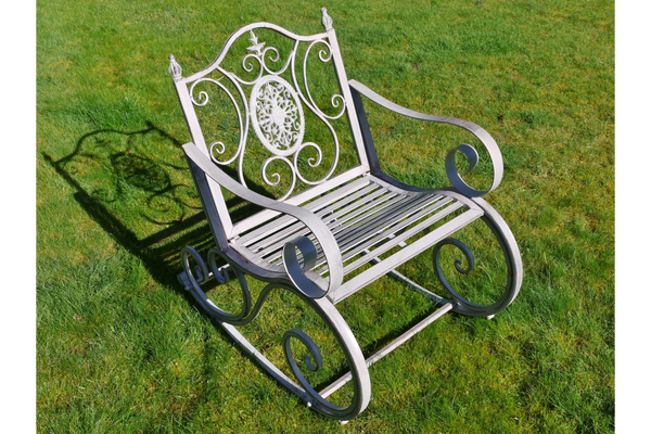 Arielle Ornate Grey Metal Rocking Chairs For Garden Or Indoor Use
