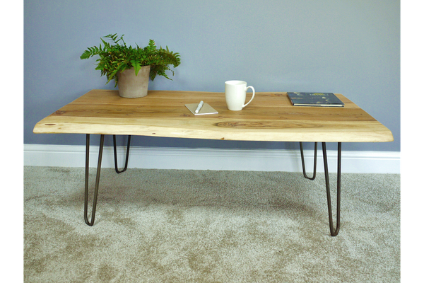 Living Edge Wooden Hairpin Leg Coffee Table