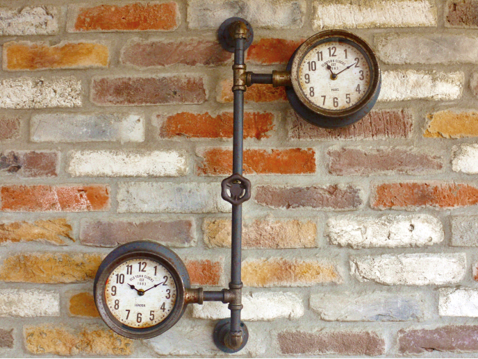 Vintage Industrial Style Pipework Double Time Zone Wall Clock