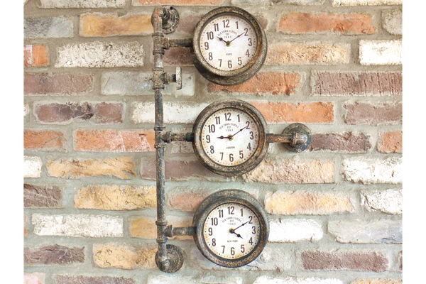 Vintage Industrial Style Pipework Triple Time Zone Wall Clock