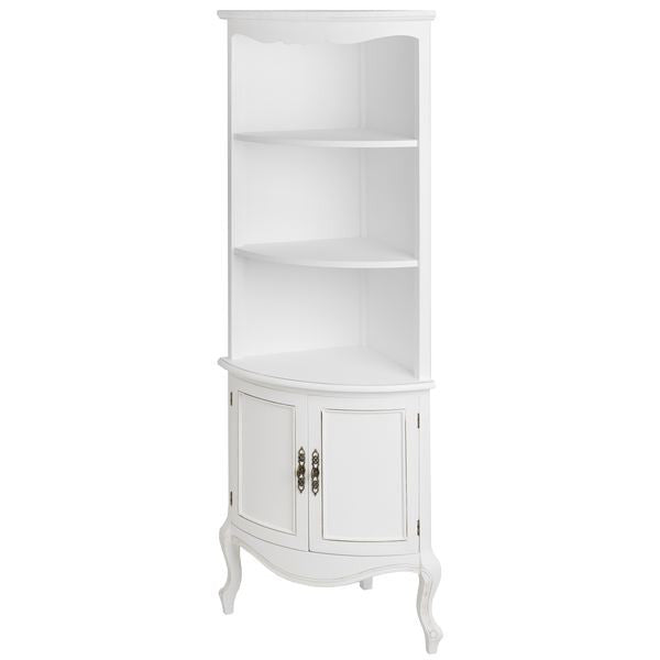 French Vintage White Shabby Chic Corner Display Cabinet - Free Delivery