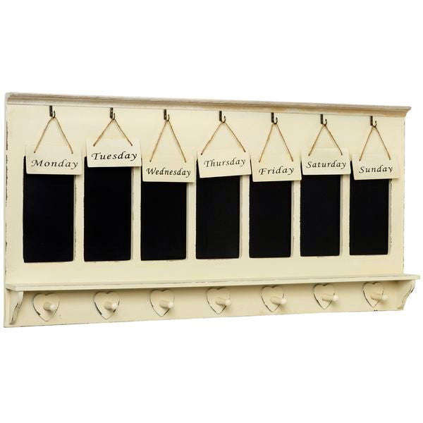 Jolie Country Cream Shabby Chic Weekly Organiser Blackboard - Free Delivery