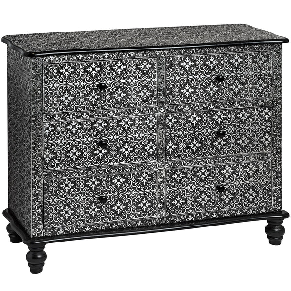 Kasbah Embossed Ornate Metal 6 Drawer Chest | Free Delivery