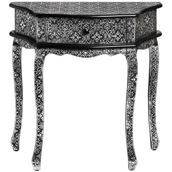 Kasbah Embossed Ornate Metal 1 Drawer Console Table | Free Delivery