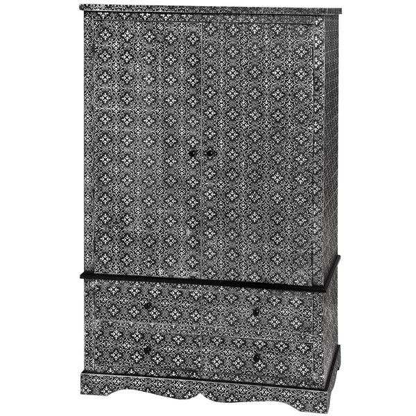 Kasbah Embossed Ornate Metal Wardrobe With Four Drawers| Free Delivery