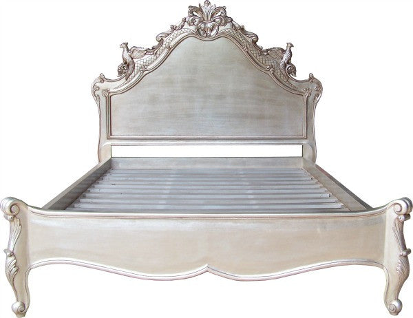 French Style Ornate Carved Silver Versailles Bed Frame - 3 Sizes | Free Delivery