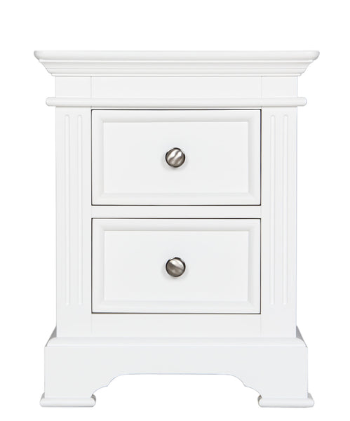 Berkeley Elegance High Quality White Bedside Chest With 2 Drawers