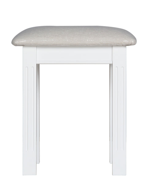 Berkeley Elegance Elegant White Painted Upholstered Dressing Table Stool
