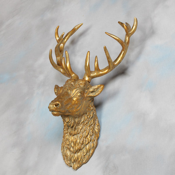 Stig The Stag Wall Hanging In Antique Gold Finish £89.99