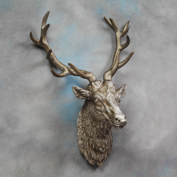 Stan The Stag Wall Hanging In Antique Silver Finish £89.99