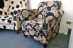 Bella Black Damask Fabric Accent Chair - Only £279