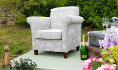 Bella High Quality Silver Fabric Accent Chair Only £279
