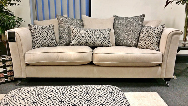 Beaulieu Plain Chenille Or Paisley Fabric 4 Seater Sofas (Standard Back Or Pillow Back)