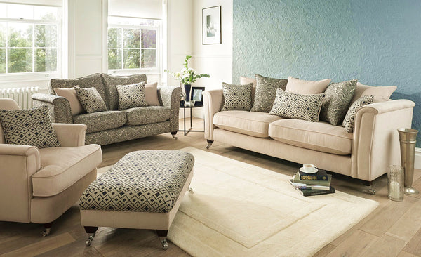 Beaulieu 2 Seater Sofas In Plain Chenille Or Paisley Fabric (Standard Back Or Pillow Back)