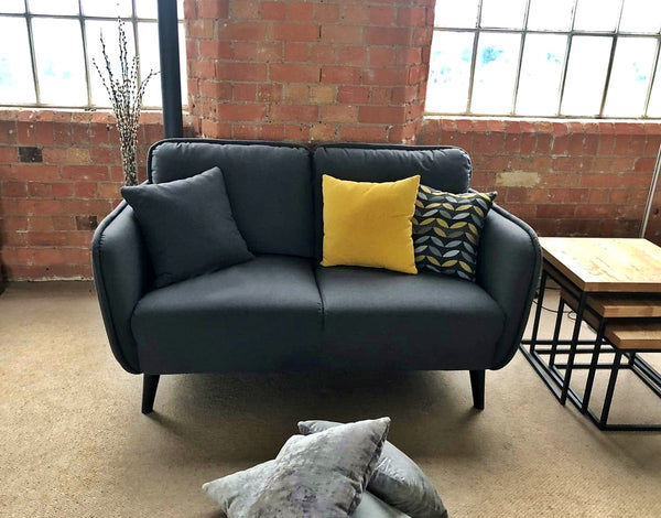 Bowie High Quality Small Contemporary Charcoal Grey Sofa
