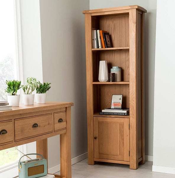 Broughton Premium Quality Light Oak Narrow Bookcase / Display Unit
