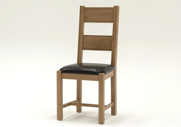 Broughton Light Oak Dining Chair - Brown Leather Seat - Superb Quality