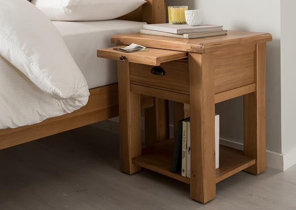 Broughton Premium Light Oak Small Bedside Table.