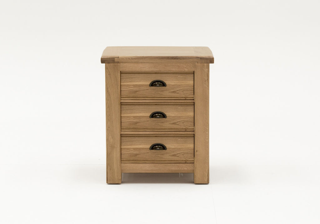 Broughton Premium Light Oak 3 Drawer Bedside Chest