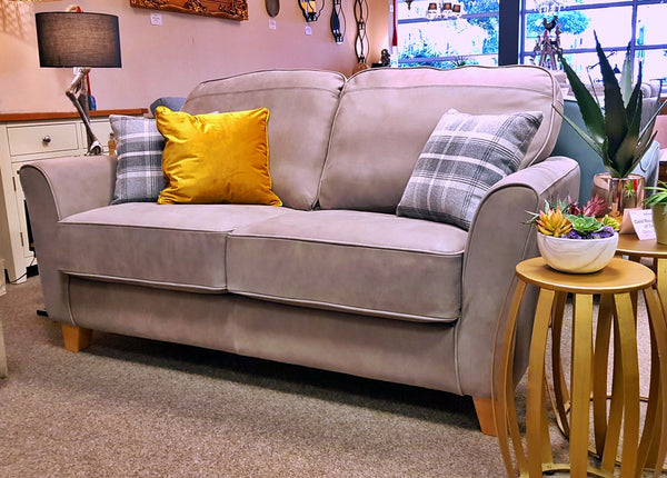 Brooklyn 2 Seater Grey Leather Sofa - Leading Dept Store High Back Sofa Range
