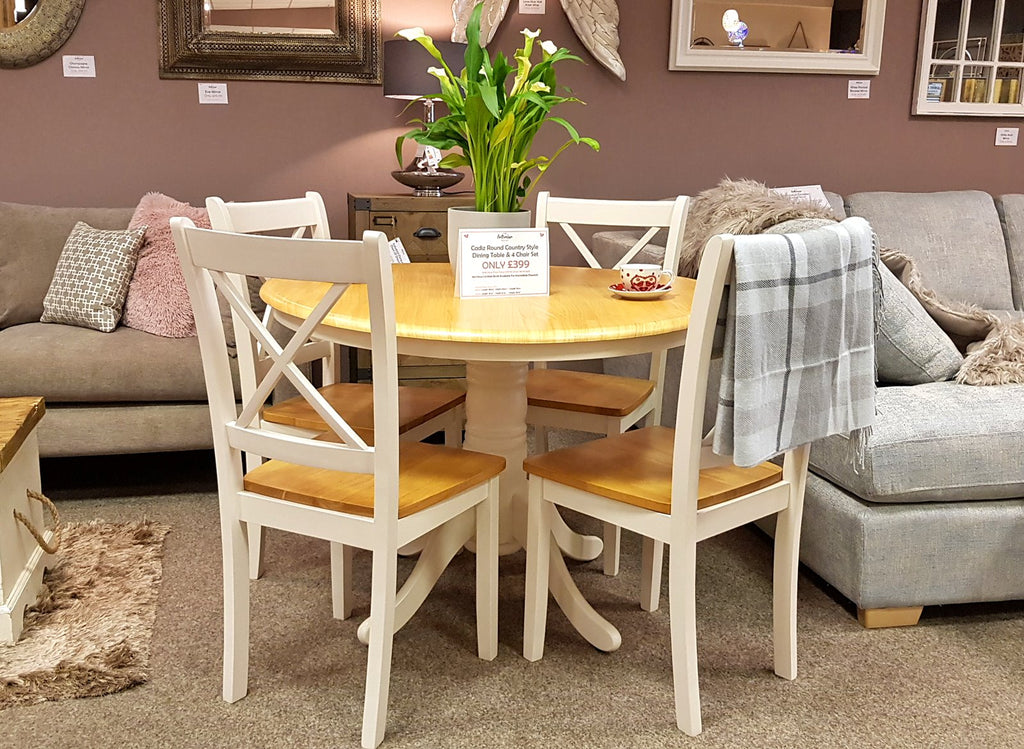 Cadiz Ivory 2 Tone Round Dining Table Set Inc 4 Chairs - £399 (RRP £659)