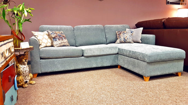 Premium Department Store Duck Egg Chenille RH Storage Chaise Sofa Bed - £899 (RRP £2,650)
