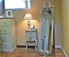 Rococo Style Ornate Cheval Mirror With Champagne Finish - RRP £279