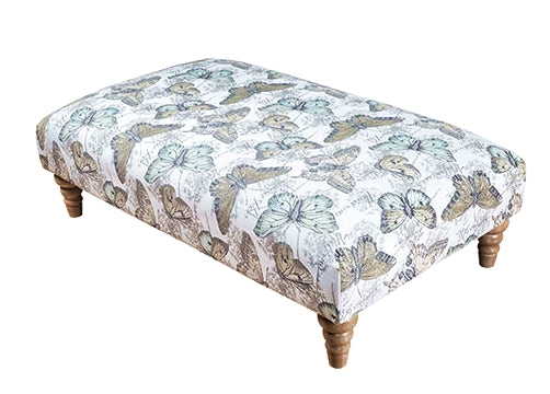Bardot Elegant Banquette Footstool - Choice Of Plain Or Accent Fabric