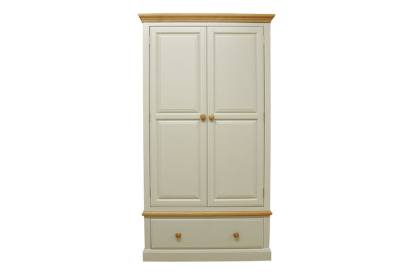 Dijon Country Style Painted Oak Gents Wardrobe With Drawer