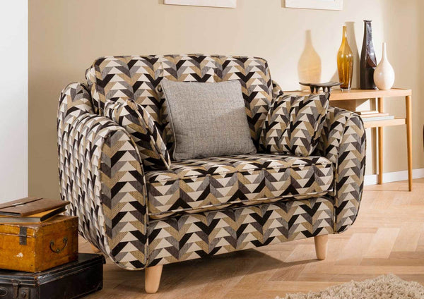 Daltrey Stunning Iconic 60s Style Accent Snuggler Seat In 4 Chevron Fabric Combo's