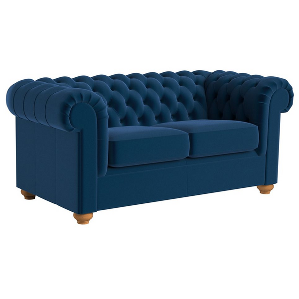 NEW Debenhams Medium Dark Blue Velvet Chesterfield Sofa - Only £759 (RRP £1,900)