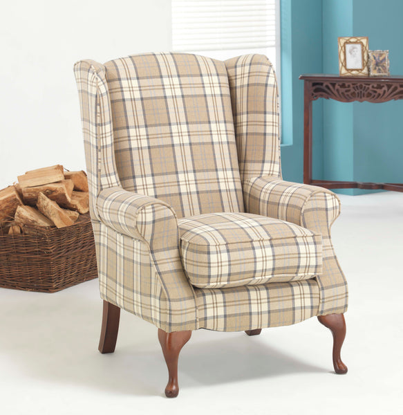 Glencoe Small Wing Chair – Sophisticated Country Elegance In Plaid Or Plain Fabrics