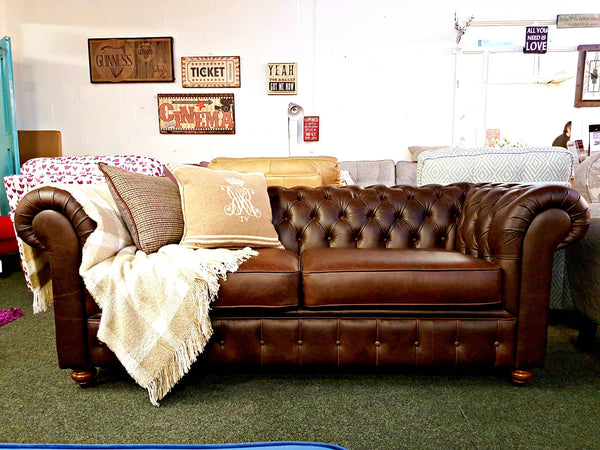 Debenhams Chesterfield 3 Seater Sofa In Brown Leather  - Only £999