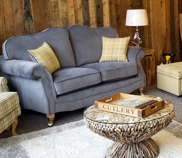 Glencoe 2 Seater Sofa In Grey Velvet– Available Before Christmas 2020